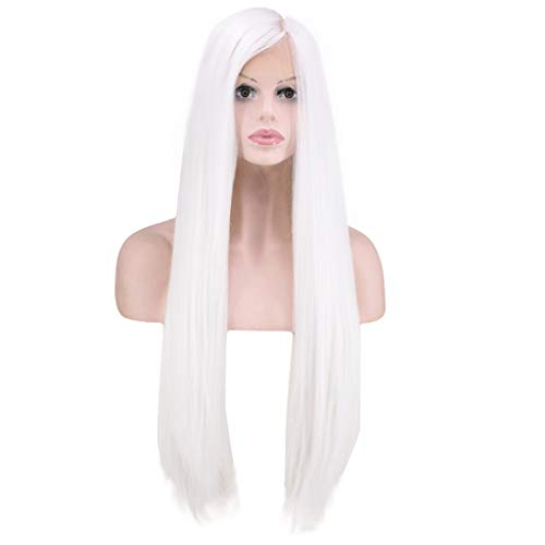 NOGOQU NEW LIFE @YOU Fashion Cosplay Party Natural White Lace Front Wig Long Straight Hair Side-parted Soft Comfortable For Women Or Girls 60cm/24 Inch 320g ()