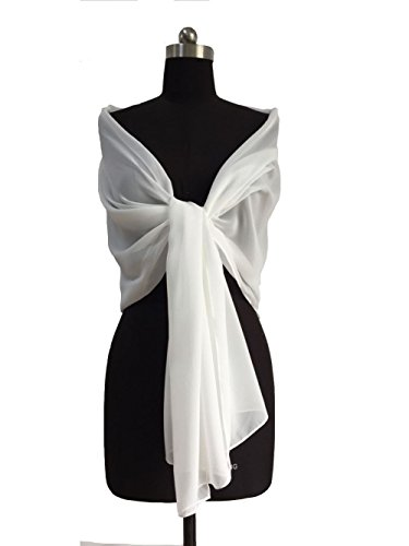 """Sheer Soft Chiffon Bridal Women's Shawl For Special Occasions White 79"""" Long 20"""" Wide"""