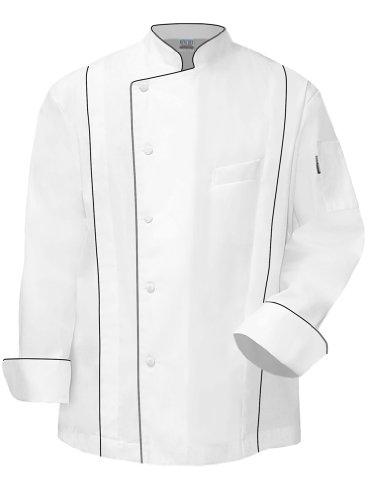 Newchef Fashion Master Chef Coat White with Black Trim L White by Newchef Fashion
