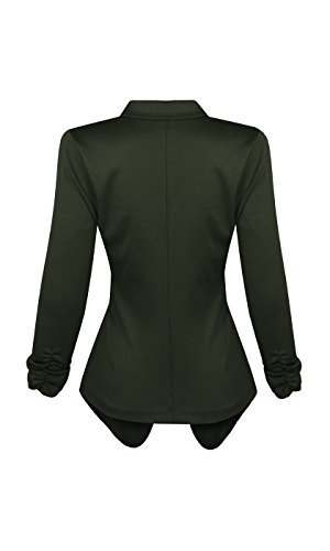 HOT FROM HOLLYWOOD Women's Lightweight Front Button Blazer with Notch Collar and 3/4 Ruched Sleeves by HOT FROM HOLLYWOOD (Image #2)