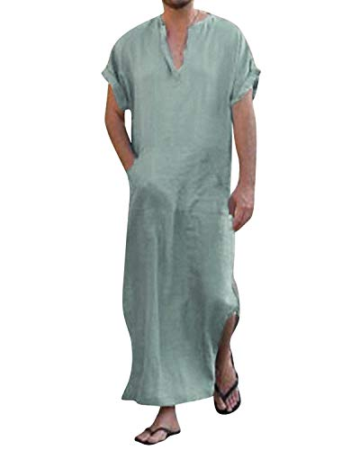 Jacansi Men's Middle Eastern Casual Kaftan Solid Muslim Robe with Side Pockets Green M by Jacansi