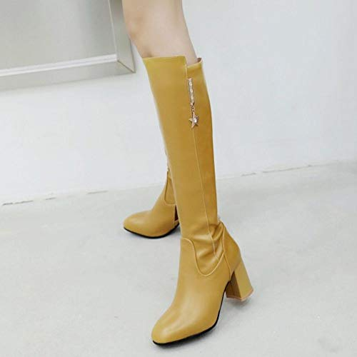Bottes Femmes Simple Talon Yellow Chaussures Solid Taoffen Fermeture Hautes Avec Éclair Longue Haut a6d6wq