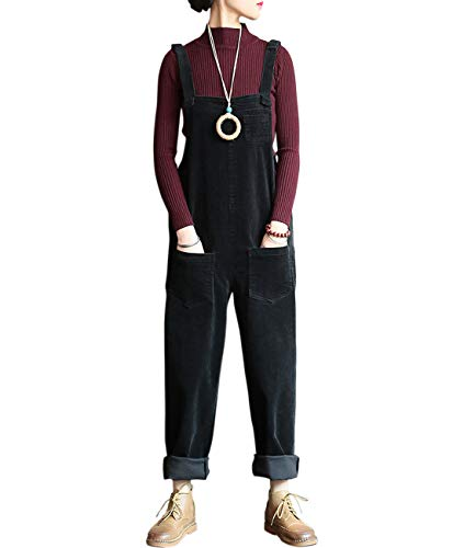 Aeneontrue Women's Casual Corduroy Bib Overalls Wide Leg Pants Jumpsuits Rompers with Pocket (KZ091_Black)