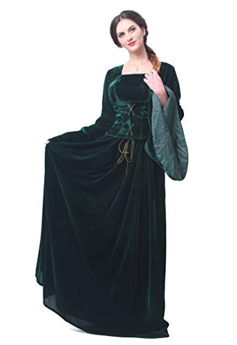 Nuoqi Women's Medieval Renaissance Victorian Gothic Fancy Dress Dark Green Gown Costumes ()