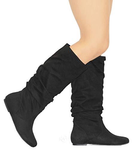 MVE Shoes Women's Zuluu Slouchy Faux Leather Knee HIgh Flats Boots Black 8.5