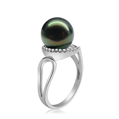 AmDxD Jewelry Silver Plated Women Promise Customizable Rings Tahiti CZ Pearl Size 9.5,Engraving by AMDXD