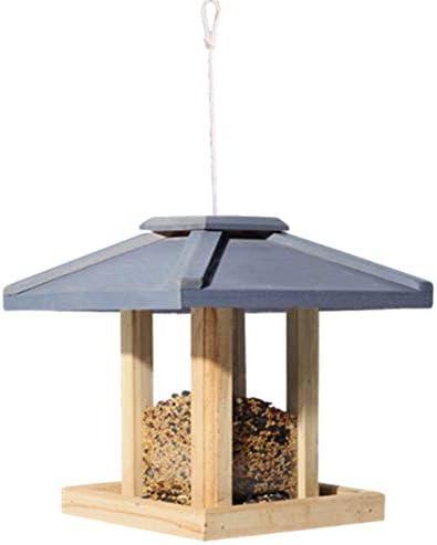 バードフィーダー 屋外パティオ耐候性カントリーハウスデザインバードテーブル簡単なクリーニングとリフィルのためのフリースタンディングハンギングデコレーション大プレミアバードフィーダー伝統的な木製 (色 : 青, サイズ : Free size)