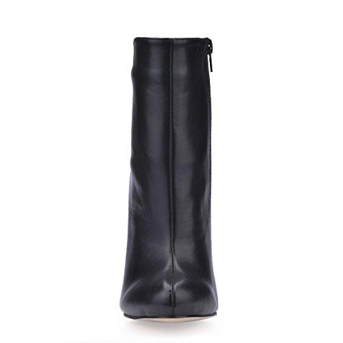 Suela Zapatos Mujer De Invierno Otoño Tobillo El Aguja Otoño Negro De Elástico Sobre De Estrecha para El con Botas Tacones 12CM Invierno Terciopelo Goma Cremallera De De Punta gqwSxCa