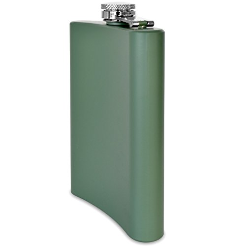 Premium-8-oz-Matte-Green-Flask-304-188-Stainless-Steel-Leak-Proof-Liquor-Hip-Flask-by-Future-Hydrate-Includes-Free-Bonus-Funnel-and-Gift-Box-Matte-Army-Green-8-ounce-capacity