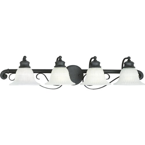 Progress Lighting P2904-71 Four-Light Bath Fixture with White Washed Alabaster Style Glass, Gilded Iron