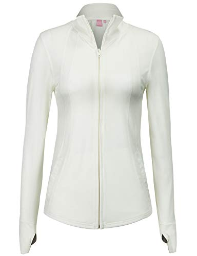 Track Women Firebird (Regna X Women's Full Zip Up Performance Stretch Comfy Track Jacket White M)