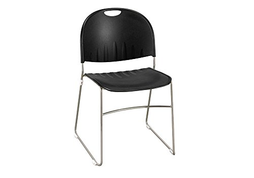 Polypropylene Stack Chair with Sled Base Black Shell/Chrome Finish Dimensions: 20.5