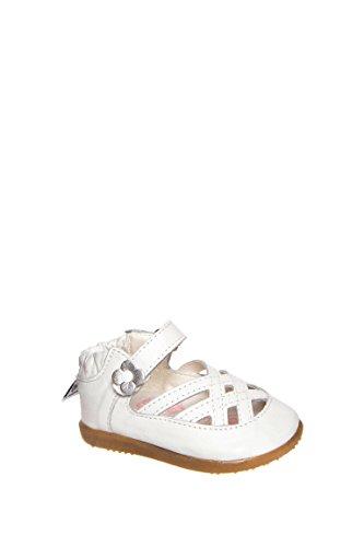 ShooShoos - Zapatitos de piel suela dura, sandalias blancas con flor, 19