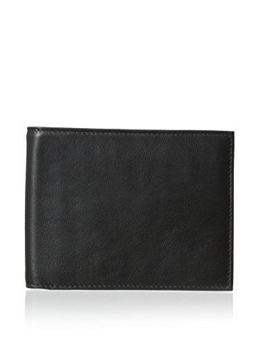 Bosca Men's Nappa Vitello Collection - Continental ID Wallet Black Leather One -