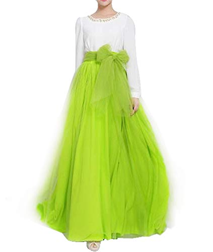 Women Wedding Long Maxi Puffy Tulle Skirt Floor Length A Line with Bowknot Belt High Waisted for Wedding Party Evening (Fluorescent Green, Plus Size) -
