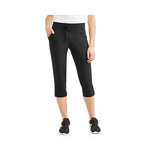 Knit Works - Athletic Works Women's Active Core Knit Capri (Large 12/14, Black Soot)