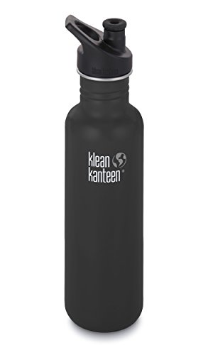 Klean Kanteen Classic Stainless Steel Bottle with Sport Cap, Shale Black - 27oz