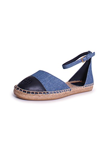 Tory Burch Color-Block Denim Ankle Strap Espadrilles, Denim Chambray/Navy - Burch Sale Tory