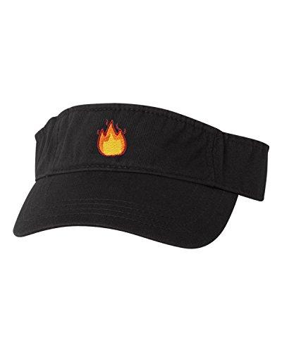 Flame Embroidered Visor - Adjustable Black Adult Fire Emoji Embroidered Visor Dad Hat