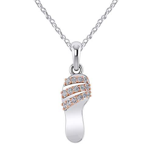 (Pretty Jewels 925 Sterling Silver Diamond Flip Flop Pendant Slipper Beach Sandal Fancy Pendant 0.15 cttw Diamonds (Rose-Gold-Plated-Silver))