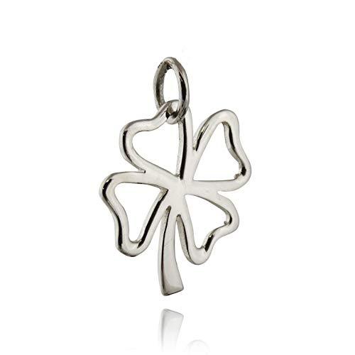 Shamrock Outline Charm - 925 Sterling Silver - Four Leaf Clover Luck Irish - Jewelry Accessories Key Chain Bracelets Crafting Bracelet Necklace Pendants (Four Leaf Clover Gem)