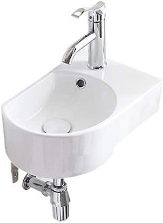 シンク周り用品 バスルームのシンクの小さな壁掛け洗面台バルコニーシンプルセラミックコーナー盆地バスルームのシンクの蛇口をマウント (Color : B, Size : 41.5*27*21cm)