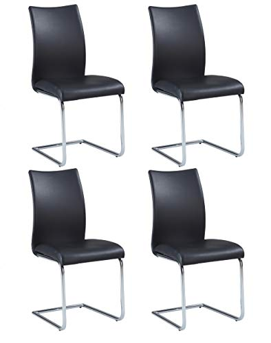 Milan Jean Contour Back Cantilever Side Chair, Set of 4, Black Review