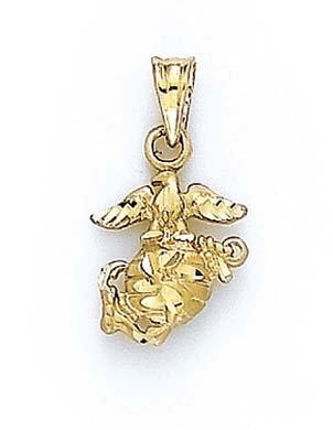 14 carats-diamant taillé-JewelryWeb Pendentif Blason Marine Corps Coloris