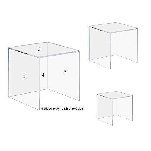 CRUODA Acrylic Display Case,3x3x3&4x4x4&5x5x5, 3pc, display box,4 Sided Acrylic Cube,Museum Box Case, Jewelry Book Showcase ()