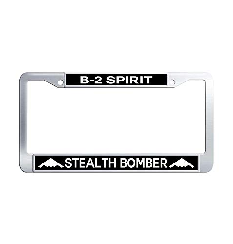 Toanovelty B-2 Spirit Stealth Bomber Top View Metal Auto License Plate Frame, Waterproof Stainless Steel Auto License Tag Holder 6' x 12' in]()