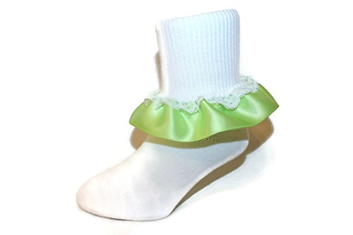 Girls Ruffle Ankle Socks with Satin & Lace in Assorted Colors (7-8.5 Girls, Lime)]()