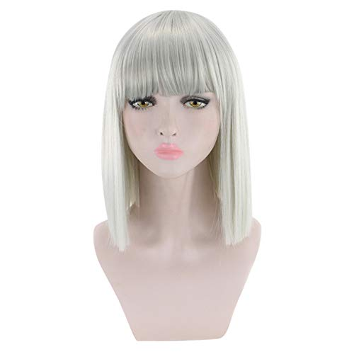 Orcbee  _Short Straight Heat Resistant Synthetic Hair Gray Nature Black Womens Party Cosplay Wigs ()