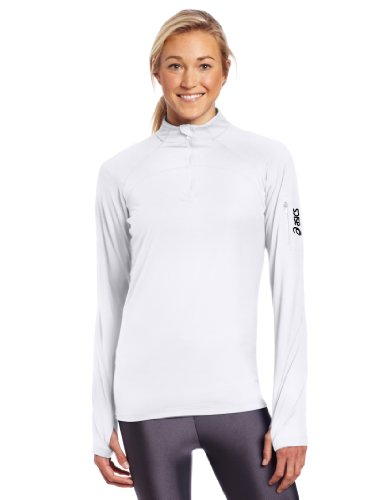 ASICS Women's Team Tech Half Zip, Small, White