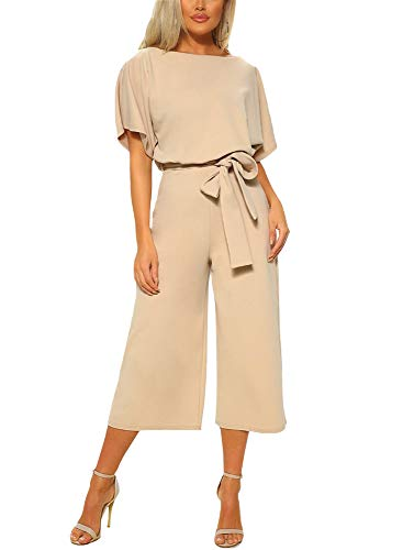 (Asyoly Women Casual Long Pants Loose Wide Legs Jumpsuits Rompers Batwing Sleeve Crew Neck)