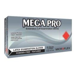 Micro Flex Mega Pro® - Guantes de látex con puños extensos, Caja de 50, Mediano