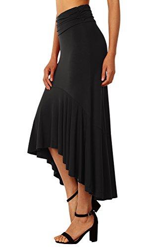 Asymetrique Midi Mi Jupes lgant Noir Femme Skirt Longue Longue DJT Jupe Uni Plisse CXwIZExCq