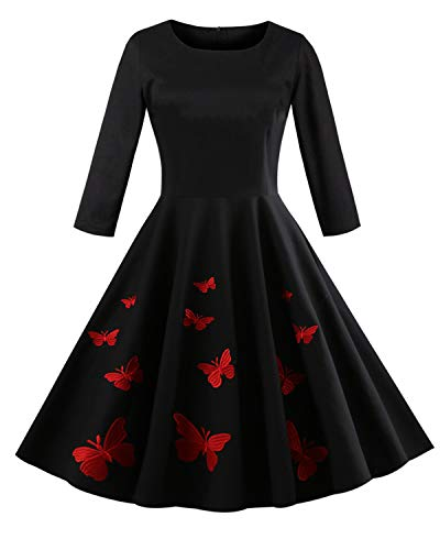 KENANCY Women's 1950s Vintage Floral 3/4 Sleeve Party Cocktail Swing Dress-Butterfly Print,2XL -