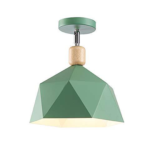 LED Ceiling Light for Indoor Outdoor, Creative Iron Flush Mount Hanging Fixture Pendant Lighting for Bedroom Corridor Terrace Hallway Balcony, E27 Lamp Bulb,Green (Outdoor Pend)