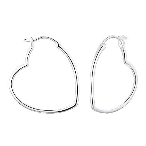 YL 30MM Hoop Earrings Sterling Silver Polished Heart Endless Earrings Dangle Hoops Diameter ()