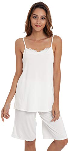 - LazyCozy Women's Cami Tops and Capri Pants Pajama Set, White, X Large