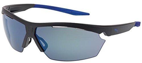 (Puma PU0005S Mens Sunglasses - Matte Grey/Blue Mirror)