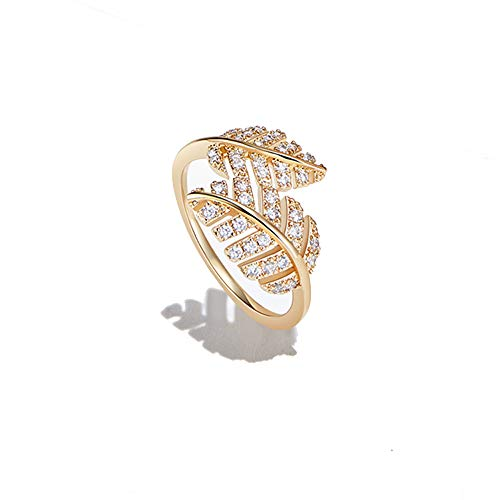 - AGVANA Yellow Gold Filled Cubic Zirconia CZ Double Leaf Ring Chic Fashion Jewelry Gifts for Women Size 7