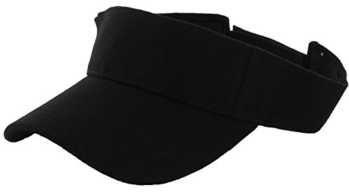 LA Gen Sales Plain Men Women Sport Outdoor Sun Visor Adjustable Cap (Black), Large