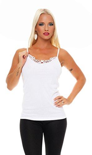 2 ropa interior Paquete mujeres con el número 421 de encaje (chaleco, camiseta, camisa) Blanco / Blanco