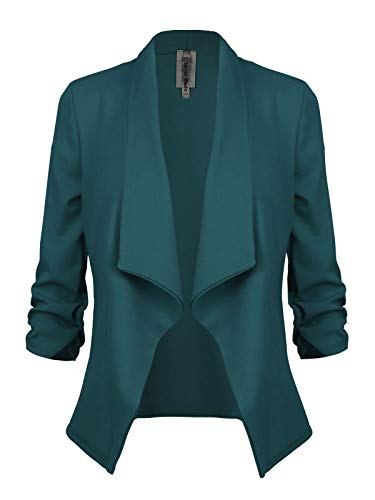 Instar Mode Women's Classic 3/4 Sleeve Open Front Blazer Jacket [S-3X] -Made in USA Hunter Green M by Instar Mode