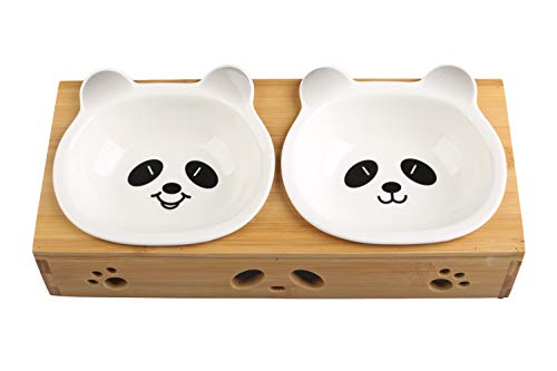 MushroomCat Ceramic Raised Double Dog Bowl Durable Bamboo Shelf Skidproof Unique Designer Weighted Cat Bowls Panda - Pattern Shelf