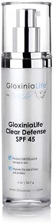 GloxiniaLife by Dr. Calle Clear Defense SPF 45- Oil-Free Facial Sunscreen for Acne Prone Skin with Zinc Oxide- Daily Botanical Cream for Face Use- Anti Aging with UV Skin Protection, 2 oz