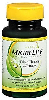 Feverfew Leaf Extract - MigreLief Original Formula Triple Therapy with Puracol, 60 Count (Pack of 3)
