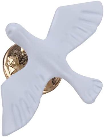 女性白平和鳩ブローチピンラペルデニムジーンズジャケットバッジ帽子襟の装飾