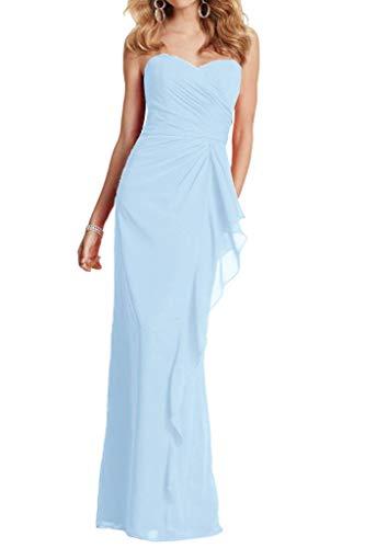 Chiffon Braut Abendkleider mia Schnitt Hell Partykleider La Blau Abschlussballkleider Schmaler Geraft Lang Herrlich CA5WR